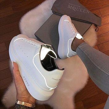 Alexander Mcqueen 19ss 3M Reflective Thick-soled Shoes Small White Shoes-7