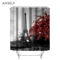 Bathroom Curtains Waterproof Polyester Fabric Shower Curtain 3D Red Lip/Red Maple/Butterfly Eiffel Tower Shower Curtain Cortinas