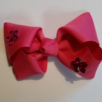 Pink Crystal Flower Bow