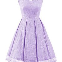Gardenwed Women's Retro Floral Lace High Low Homecoming Dress Cocktail Party Gown Bridesmaid Dress