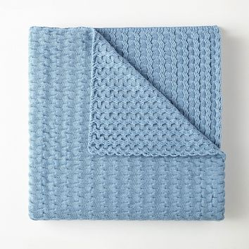 Faro Blue Throw by Peacock Alley