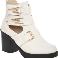 Constance Cut Out Buckle Detail Block Heel Ankle Boot in White