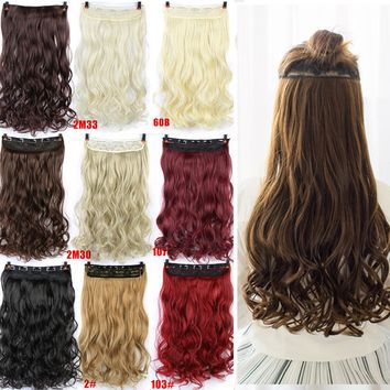 """Allaosify 24"""" Curly 3/4 Full Head Clip in Hair Extensions Black Brown Blonde Real Natural Synthetic One Piece for human"""