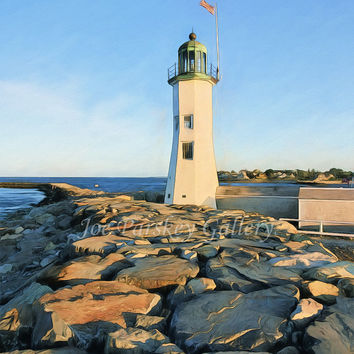 On the rocks at Scituate Light, Scituate, Massachusetts lighthouse, 8x10 print in 11x14 mat