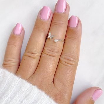 Dainty Butterfly Midi Crystal Ring in Silver