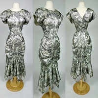 1980s satin floral dress, avant garde ruched short sleeve mermaid V neck & back 40s inspired dress, Large, 10