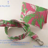 Preppy Lilly Pulitzer Forgot My Trunks Fabric Lanyard and Card Holder Set