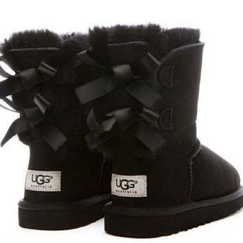 UGG:: bow leather boots boots in tube Pink-1