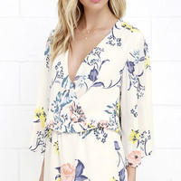 Sing the Blooms Cream Floral Print Romper