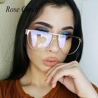 2017 Cateye Flat Top Pilot Brand Designer Mirror Metal Transparent Sunglasses Lady Women Men Sun Glasses Pink Female