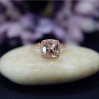 Engagement Ring 8mm Cushion Cut Natural VS Morganite Ring Solid 14K Rose Gold Ring Diamonds Ring Wedding Ring Promise Ring Anniversary Ring