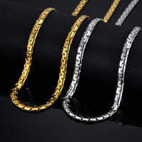 """Mens Gold Chain Necklace 6MM Long Necklace for Men 20"""" 26"""" Gold Color Stainless Steel Link Chain Necklaces Men Collier"""