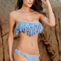 Light Blue Strapless Tassel Top Bikini with Low Rise Buttom