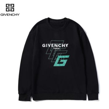 Givenchy New fashion letter print couple long sleeve top sweater Black