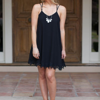Black Strappy Lace Patchwork Dress