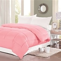 Natural Cotton Twin XL Comforter - College Ave - Baby Pink