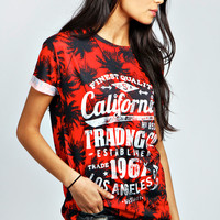 Beth Palm Tree Print Oversized Tee