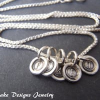Teeny tiny wax seal initial necklace silver initial seal necklace