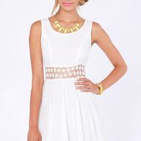 Afternoon in the Park Ivory Chiffon Dress
