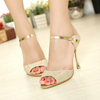 Summer 2016 High Heels Sandals Shoes Women Sandals Beautiful Silver Gold Sandals Zapatos Mujer