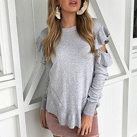 Ruffles Off Shoulder Women Sweater Long Sleeve Sexy Pullovers Knitted Sweaters Casual Jumpers