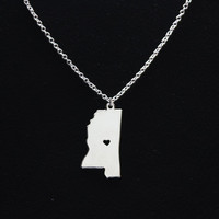 SALE NOW - I Heart Mississippi Necklace - Mississippi Pendant - State Necklace - State Charm - Map necklace - Map Jewelry