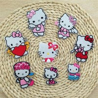 8PCS Cartoon Hello Kitty Embroidered Patches Iron On Motif Applique Embroidery Clothes Accessory DUO