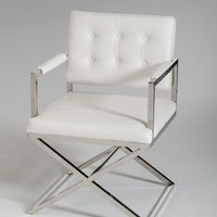 Modrest Spielberg Modern White Leatherette Dining Chair (set of 2)