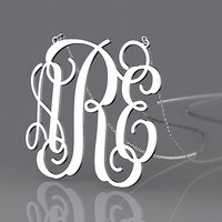 Name monogram necklace 1.25 inch silver necklace jewelry customized--personalized monogram necklace