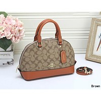 C COACH Hot Sale Women Shopping Leather Handbag Crossbody Satchel Shoulder Bag Brown