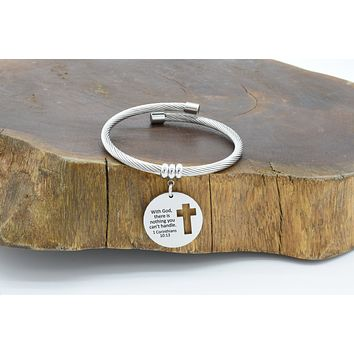 Solid Stainless Steel Bible Verse Open Cable Bracelet By Pink Box