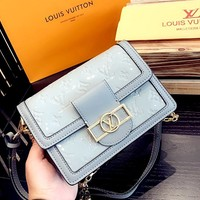 Free Shipping-LV Women's New High Quality Chain Bag Shoulder Bag grey