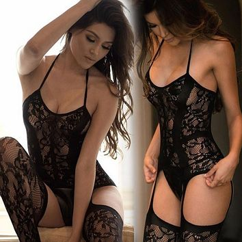 Collant Femme Sexy Lingerie Stockings Garter Belt Fishnet Tights Women Sexy Transparent Pantyhose Long Stocking