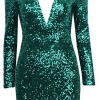 Odessa Open Back Sequin Dress with Shoulder Pads - Forest Green