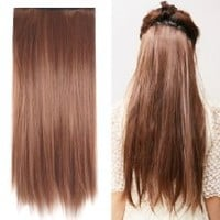 """MapofBeauty 23"""" Long Straight Clip in Hair Extensions Hairpieces"""