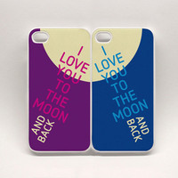 SALE Two iPhone Cases (set of 2 covers) - I love You to the moon and back : high quality reproductions from original izzybizzy illustration
