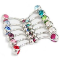 12 Pcs Lot Double Gem Swarovski Curved Belly Button Navel Ring Piercing