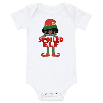 Spoiled Elf Boy Infant with Pacifier Baby Onesuit Bodysuit African American Family Christmas