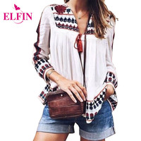 Ethnic Womens Blouse Shirt Vintage Style Retro Long Sleeve Flower Printed Loose Casual Ladies Top B6203R