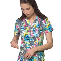 "Buy Dickies Women's Plaid A Lovely Time ""Youtility"" Junior Fit Scrub Top for $21.45"