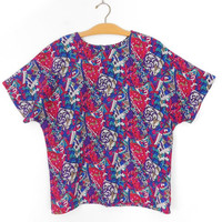"""Sz L 80s Colorful Mosaic Print Blouse - Vintage Women's Short Sleeve Round Neck Abstract Print Red Purple Blue Oversized Top - 45"""" Bust"""