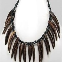 Tribal necklace beaded with coconut wood Necklace