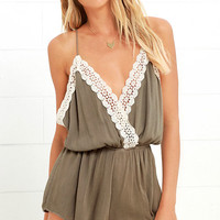 Catching Wind Olive Green Lace Romper