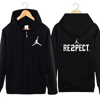 Leisure sport coats popular logo fleece hoodie with velvet male big yards cardigan