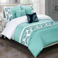 Chelsea Aqua 5-Piece Duvet Cover Set Embroidered 100% Cotton