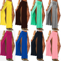 Hot Popular Trends Candy Color High Waist Skirt Open Fork Double Side Split Long Skirts Women Fashion New Maxi Skirts 18579 = 1712904516