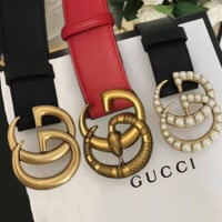 GUCCI Men Woman Fashion Smooth Buckle Leather Belt