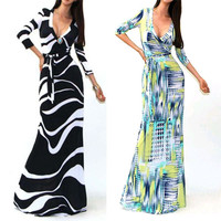 Summer Style Sexy V Neck Slim Pleated Colorful Vestidos 2015 Tropical Floral Printed Women Maxi Long Dress