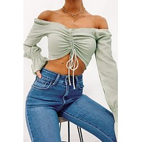 First In Sass Ruched Front Crop Top (Sage)