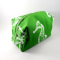 Green and White Seahorse, Large Lined Makeup Bag with Metal Zipper, Gadget Case Pencil Case, Zippered, Cosmetics, For Her Under 20